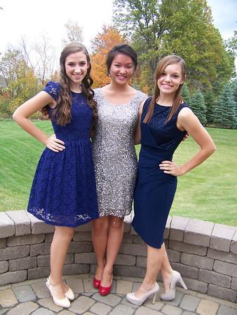 2012- 10 homecoming JIllie, Emily and Linda