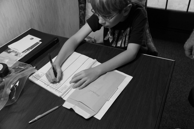 Day one - turns to night.  Jr works on the accounting.  This was part of his job on the trip.