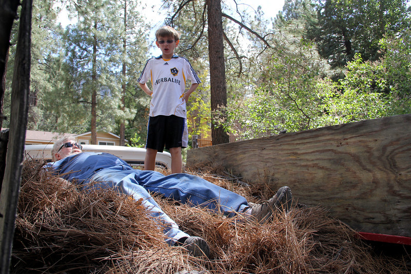 We  headed up to the cabin to help my dad rake up pine needles
