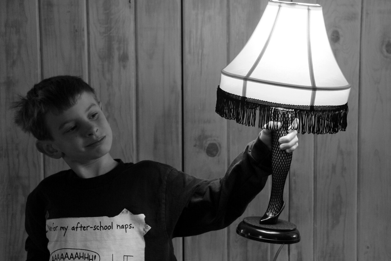 A Christmas Story -  A Boy and His Leg Lamp.  Fish Net Stockings and All.