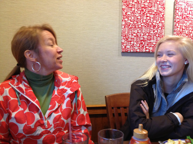 Amy explains to Audrey , how cool her Christmas Fedora hats are.....