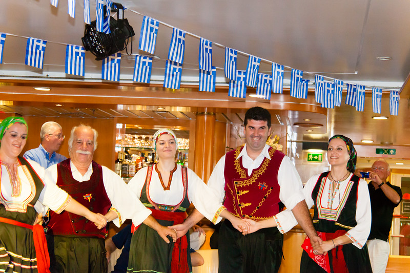 Greek Dancers join us onboard