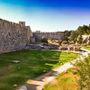 Wall of the old city in Rhodes Greece built in the 16th century