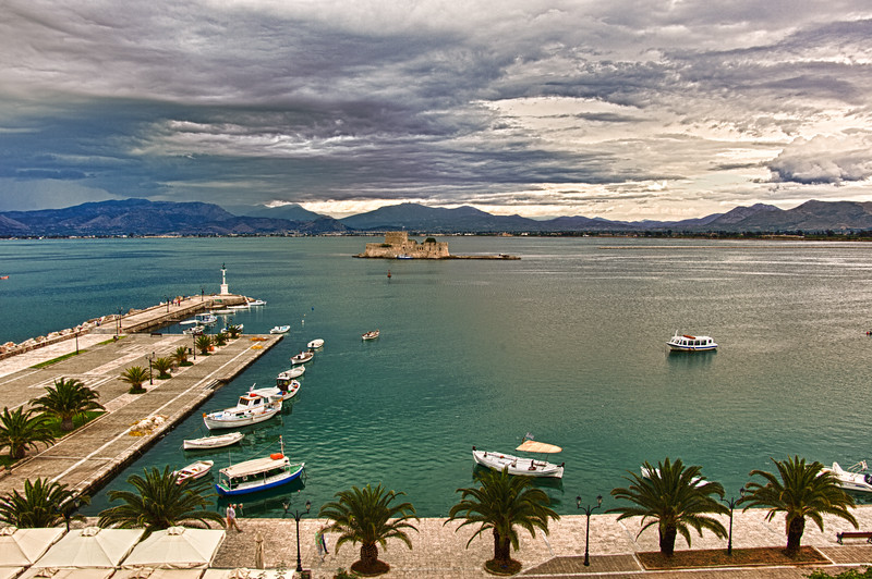 """Nafplion, Greece seaside port from our hotel room (Click on """"Map This"""")"""