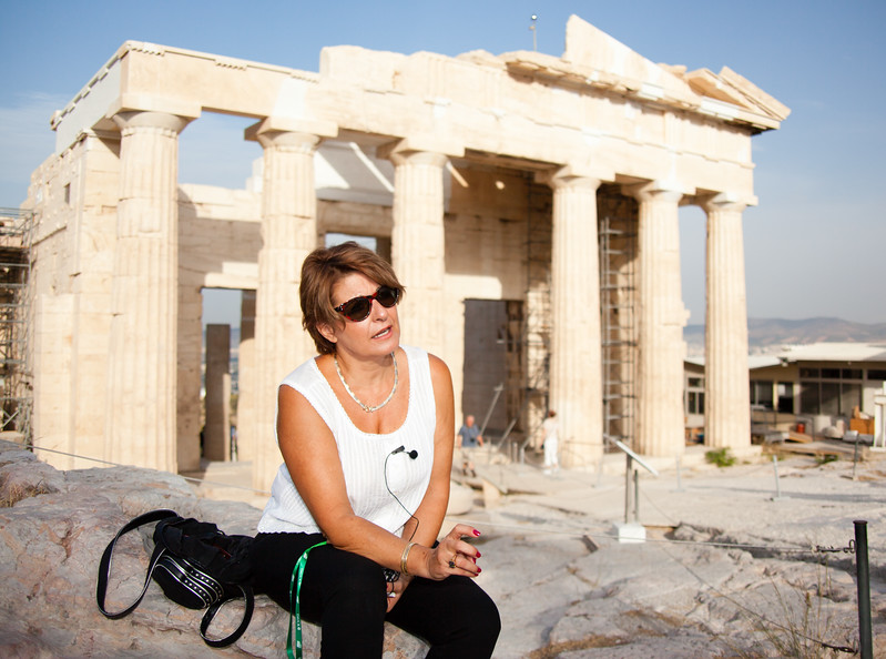 Our Athens guide, Penny atop the Acropolis