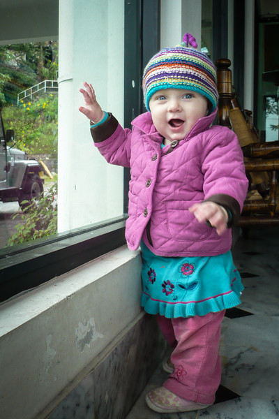 Sienna dressed for the cooler weather at 8000 ft