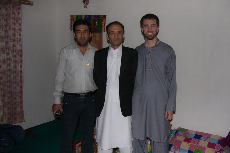 """Rehman is in the center; the other guy and I are his two """"Oshams"""". Kind of like a best man/lifelong marriage counselor rolled into one. Basically Rehman and I now call each other """"Osham"""" instead of our names, and his wife calls Erin and me """"Mom"""" and """"Dad"""" and we call her """"Daughter."""" It was the first time a non-Wakhi person (let alone non-Muslim) had been an Osham for someone in this area, and it was definitely an honor."""