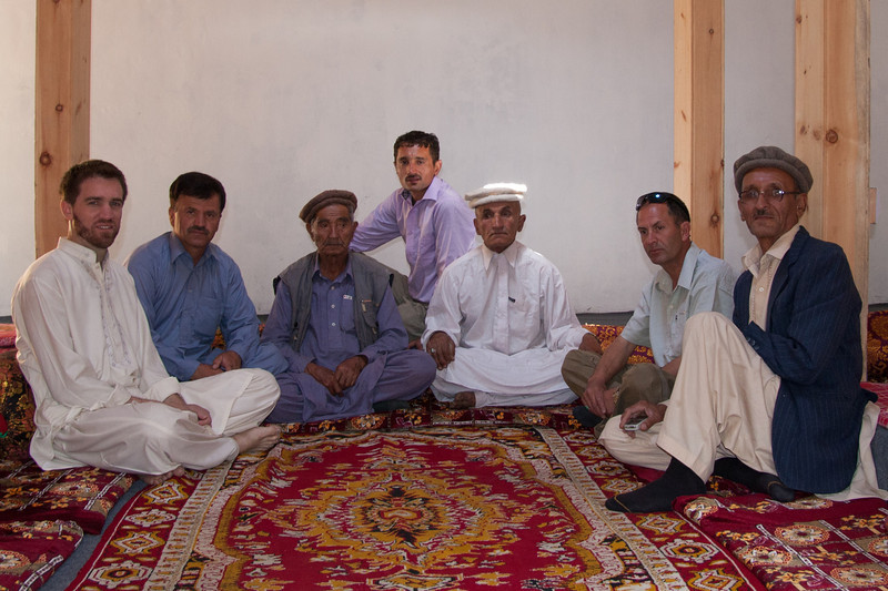 In the center wearing a white shalwar kamiz is Rehman's dad, and on the far right is his uncle, both of whom had visited us in Pindi a few times. Second from right is a Wakhi man who was visiting from his village across the border in China (he spoke Wakhi and Chinese but no English and almost no Urdu!).