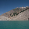 The southwestern tip of Attabad lake. Here you can see the rubble from the landslide which created the lake in 2010. It was unbelievably huge, coming from the right side crossing all the way to the left, creating a 300-ft deep lake 21 km long.