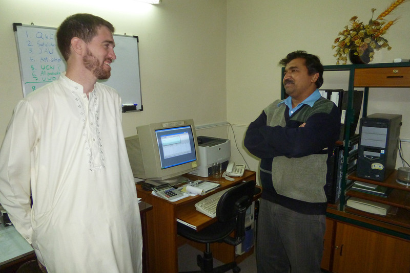 Dad came with me to the studio where I work and snapped this picture of me and my colleague, Nadeem