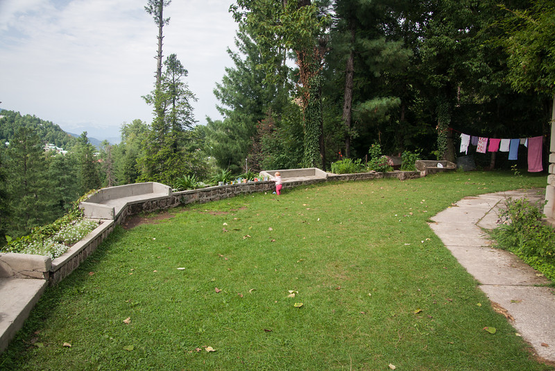 The compound where we stay whenever we're in Murree has a nice grassy yard with a great view. Sienna's playing with her blocks here.