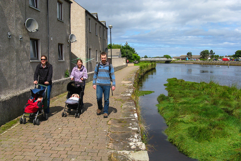 Exploring the town of Nairn with two sleeping babies