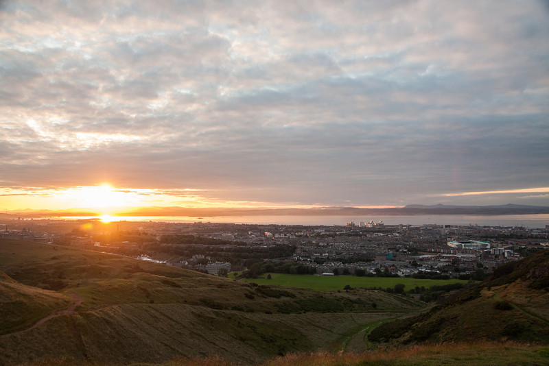 The estuary in the distance is the Firth of Forth, which leads to the North Sea