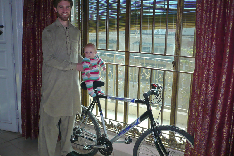 Like father, like daughter! (Although I am hoping to buy a bike soon, this one actually belongs to a friend.)