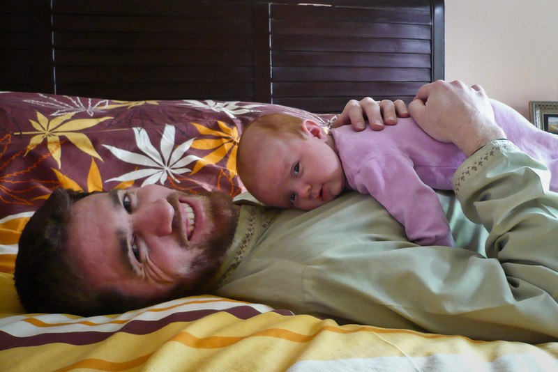 Sienna resting on Daddy