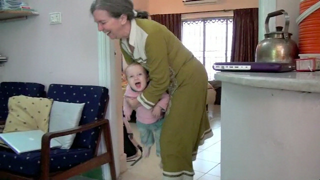 Grandma and Grandpa (Douglass) visit Sienna in Pakistan (13 months)