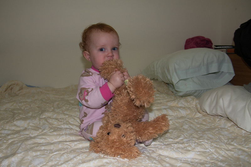 Floyd and Annie gave Bwana Bear to Sienna while we stayed with them. Since then she has slept with him in her bed every night!