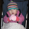 We went out for dinner on a really cold night and Sienna got to try on her new mittens