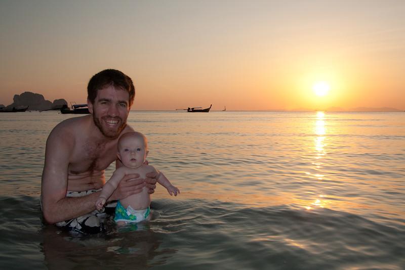 Sienna's first ocean swim - she really enjoyed it!