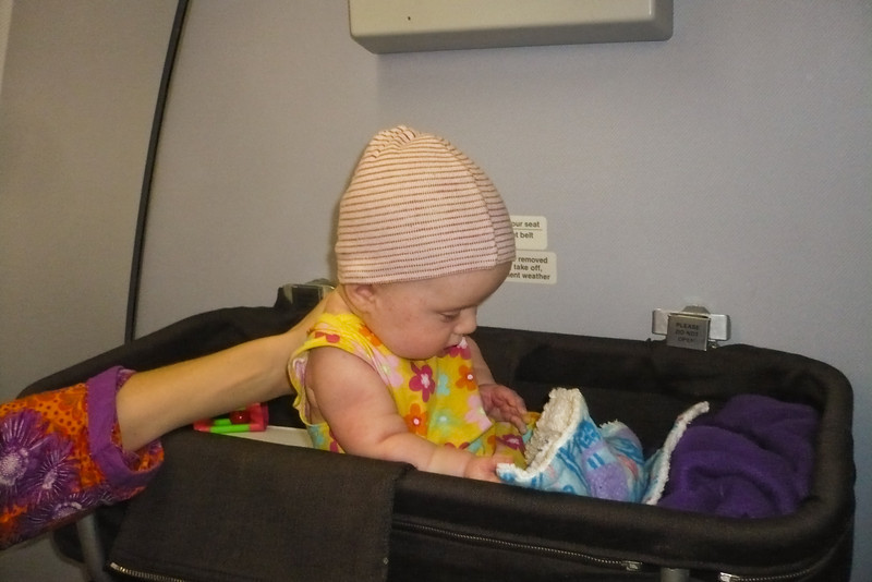 Sienna had her own special place in the airplane - the baby bassinet