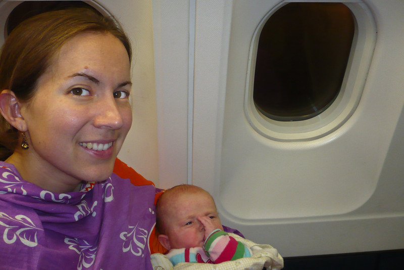 In the plane! Sienna enjoyed the flight, I think. Actually I don't think she knew she took a flight.