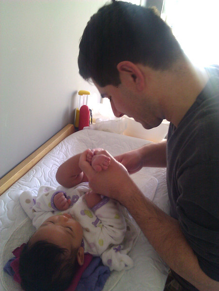 Diaper time with daddy.
