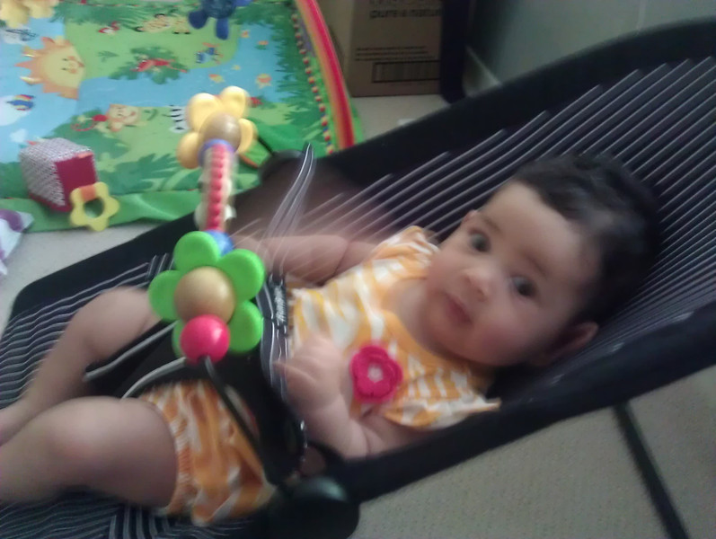 We just bought the toy bar for her bouncer. I think she likes it.