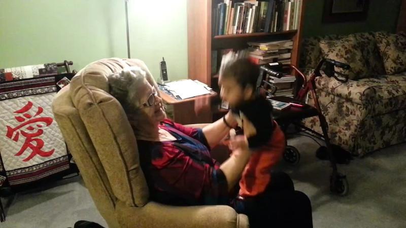 Visiting Great Grandma on Sunday, October 28.