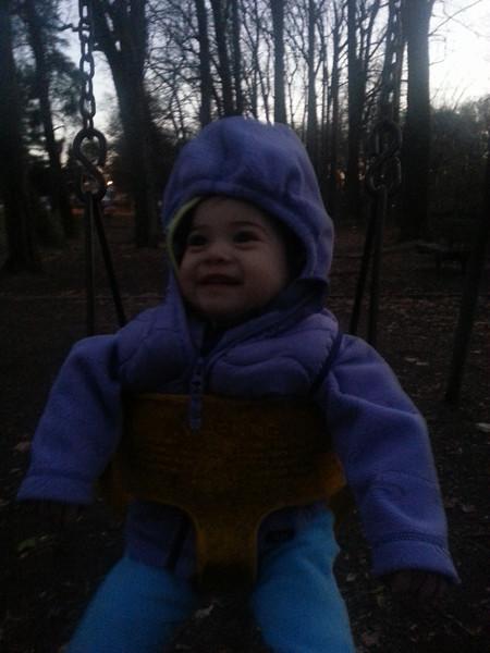 Having fun on the swing.