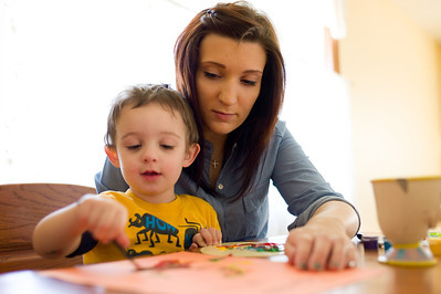 Jenna and Hunter painting in Oak Forest, Illinois on February 17, 2012. (Jay Grabiec)