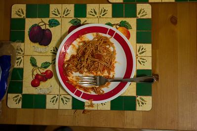 Spaghetti at home in Mattoon, Illinois on January 17, 2012. (Jay Grabiec)