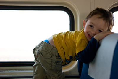 Hunter on the Amtrak on February 17, 2012. (Jay Grabiec)