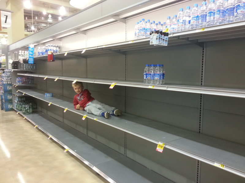 In Rockville MD before hurricane Sandy 10/12 - Cooper on the sold out shelves of water.