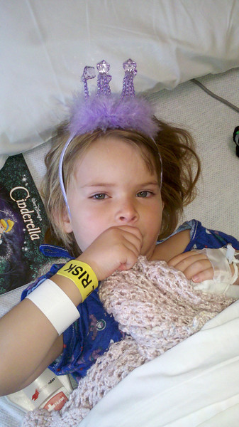 Zia after her appendix was removed - post op day 2.