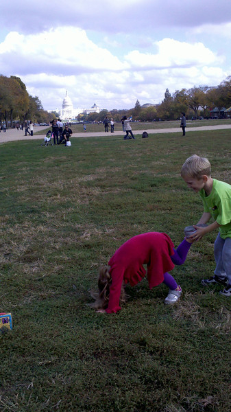 Cooper and Zia shenanigans in Fall 2012 in front of Capital, DC