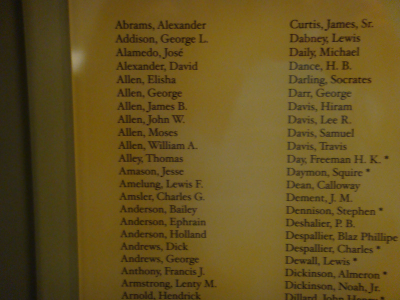 The Alamo (long building - formerly a barrack for the Alamo) shows Charles G Amsler's name.  This is believed to be names of Seige of Bexar Muster Roll of Capt Yorks co. volunteers, <br /> while in the army befpre bexar 1835.