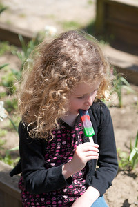"Enjoying a popsicle at the ""cast party"""