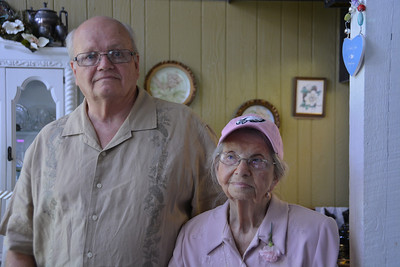 Bruce with Mom sporting a pink Eagles hat that Mike gave her.