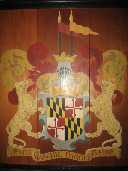Maryland State motto:  Strong Deeds, Gentle Words. <br /> It's literal translation is Manly deeds, womanly words.<br /> Maryland is the only state with a motto in Italian. <br /> The saying is also the motto of the Calvert family (the Barons Baltimore) who first founded the Colony of Maryland.