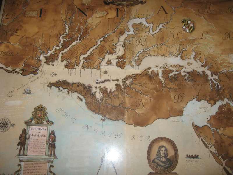 this map was on the second floor of the State house (where the Upper House of the Assembly would meet) - this particular room was the Council Chamber.  The map is a reproduction, made in 1670, of an original 1660's map that was prepared for Lord Baltimore.  It is oriented west to east (rather than north to south), which was the custom at that time.