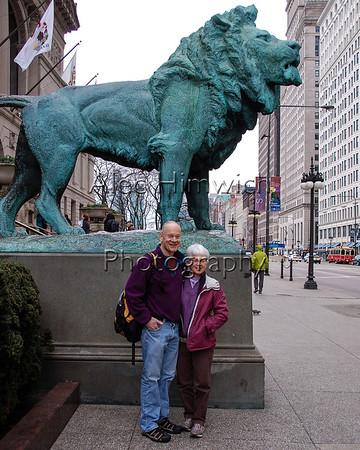 Alec and Lynn outside the Art Institute<br /> <br /> Photo by Marilyn Schweitzer or Michael Firman<br /> <br /> Chicago, IL<br /> April 19, 2013