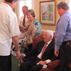Frank greeting guests, funeral for Elaine Gould, Raymer Kepner Funeral Home, Mooresville, NC, 9/28/2013