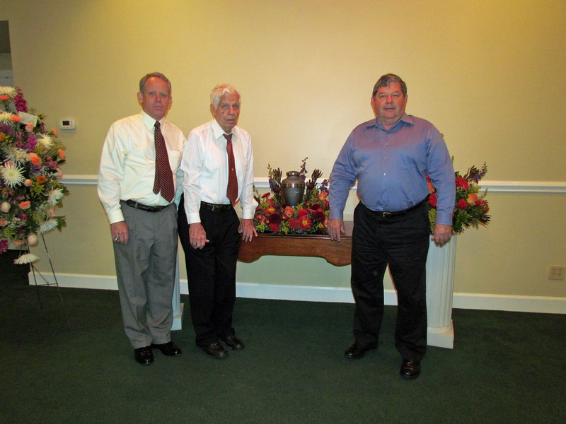 Doug, Frank, Ken, Funeral for Elaine Gould, Raymer Kepner Funeral Home, Mooresville, NC, 9/28/2013