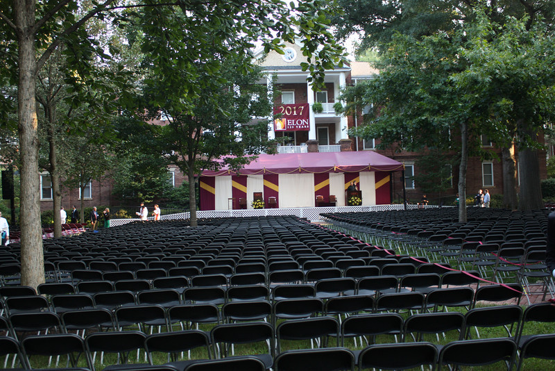 All set up for Opening Convocation.   The venue is incredible, under a canopy of oak trees in front of West Dormitory, one of the oldest buildings on campus.