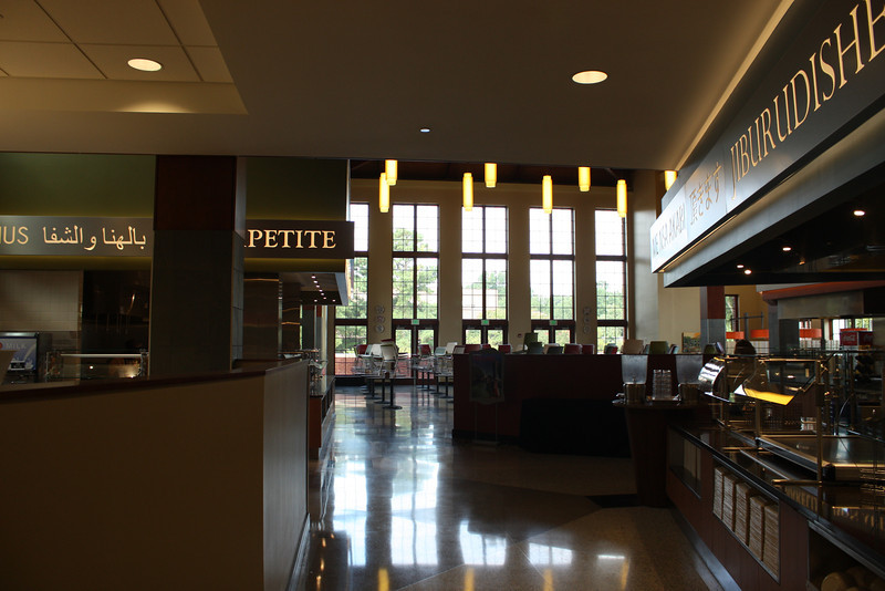 Inside the dining hall.  They have a station with a different international food each day, and every cafeteria on Elon's campus has an gluten free/allergen free station.