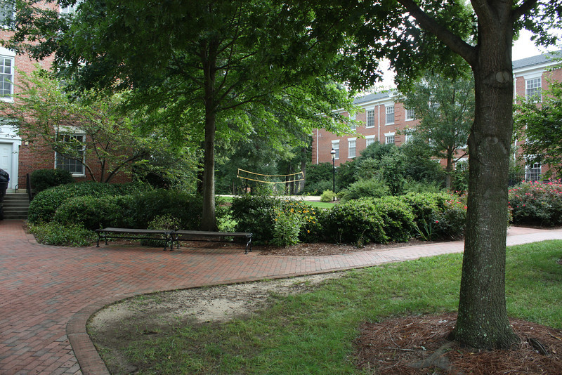 """Sloan Hall (Katherine's dorm) on the left, Virginia Hall, it's """"twin"""", is on the right."""