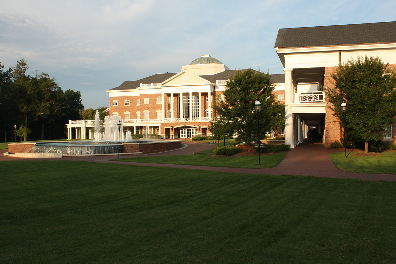 Koury business center and Colonnades residence halls.  Colonnades dining hall is on the right.