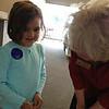Meeting her daddy's first and second grade teacher, Mrs. Hallmark.