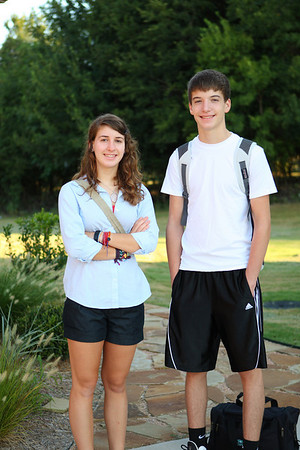 First day of school. August 23, 2010.  Sara's a senior and Aaron's a sophomore.