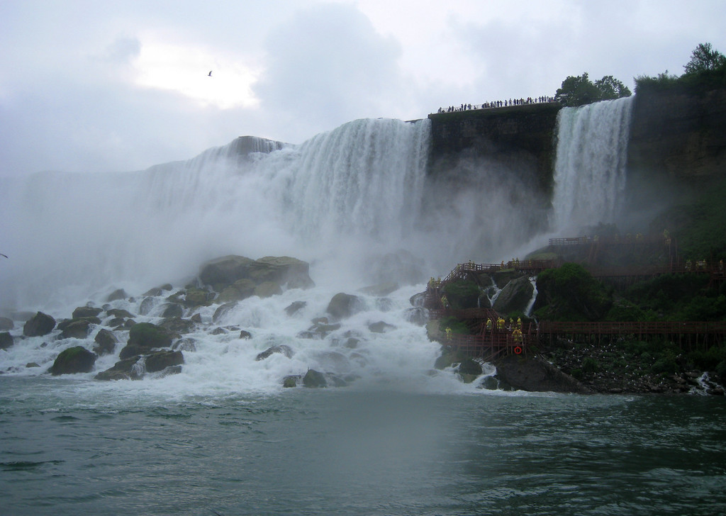 Looking back towards the American Falls from the Maid of the Mist